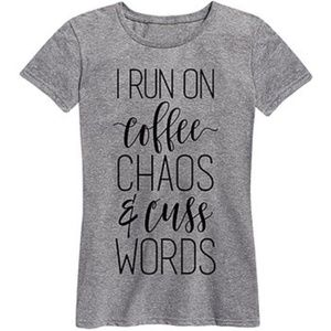 FINAL💵Coffee Chaos & Cuss Words relaxed tee, S